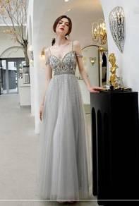 Grey cream wedding evening prom dress gown RBP1334