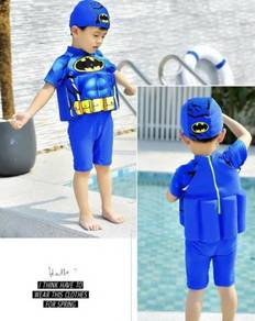 Baju Renang Kids Floating Swim Suit+Cap-BATMAN