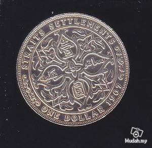 Straits Settlements 1907 1 dollar silver coin xf