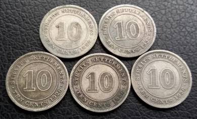 Straits Settlements 10 Cents 1926 (5 pcs Item A)