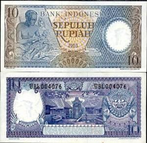Indonesia 10 rupiah 1963 p 89 unc
