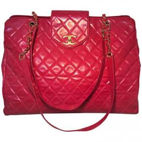 Chanel Red Quilted PVC Model Overnight Tote Travel