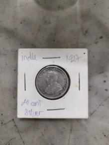TEXP 1927 George V India 20 Cents Lama Vintage