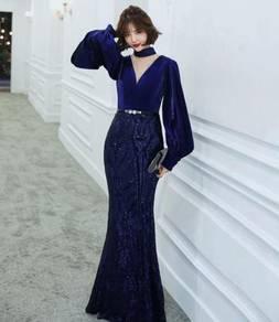 Blue long sleeve wedding evening prom gown RBP1345