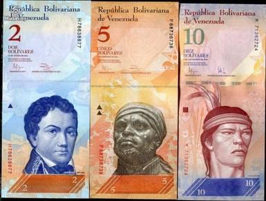 Venezuela set 3 pcs 2 5 10 bolivares p88 89 90 unc