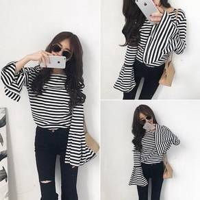 Black white trumpet sleeve stripe long sleeve top