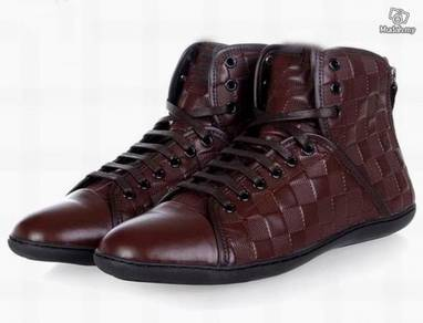Men real leather black and coffee shoes