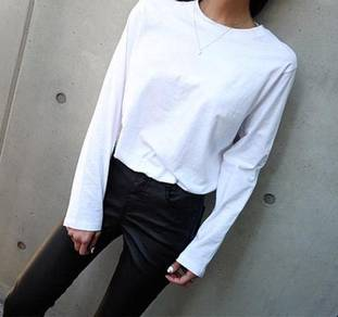 Plus size white long sleeve top XL