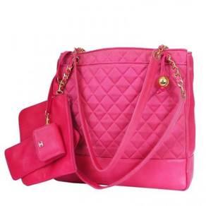 Vintage Chanel Hot Pink Large Shopping Tote Bag