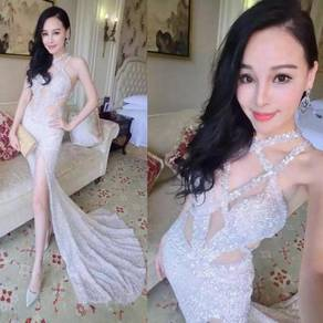 White black evening prom dress gown RBP1338