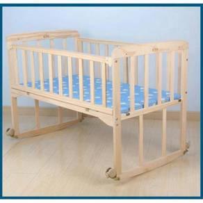 Katil bayi wooden baby cot 05