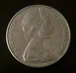 Duit Lama 1981 Queen Elizabeth Australia 20 Cent