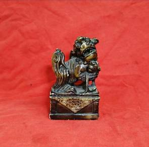 Antique Chinese Guardian Lion Stone