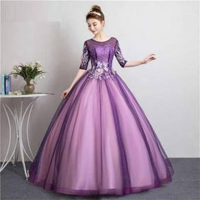 Long sleeve purple wedding dress gown RB1856