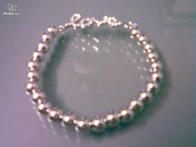ABBSB-S002 Silver Rhinestone LOVE Elastic Bracelet