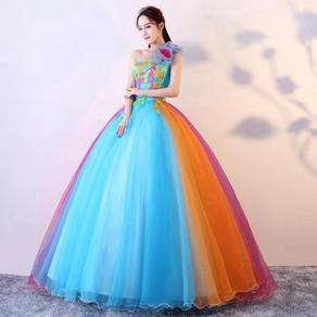 Toga rainbow prom wedding ball dress gown RB0811