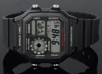 Casio Men World Time Digital Watch AE-1200WH-1AVDF