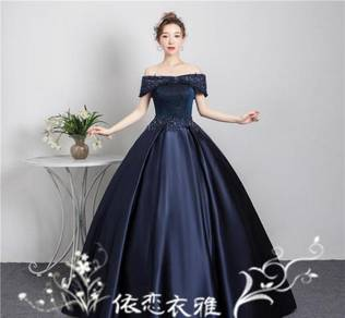 Blue gold wedding bridal dress gown RB1857