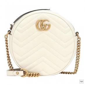 Gucci Marmont Gg Mini Round White Shoulder Bag