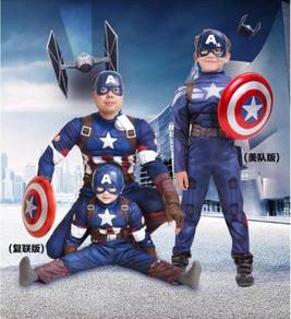 Captain America Cosplay Costume men & kids suit