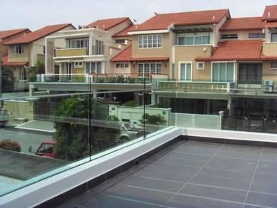 BALCONY RAILING GLASS l kalis pecah kaca balkoni
