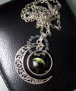 ABPSM-M006 Silver Metal Half n Full Moon Necklace