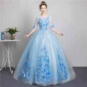 Long sleeve blue wedding bridal dress gown RB1855