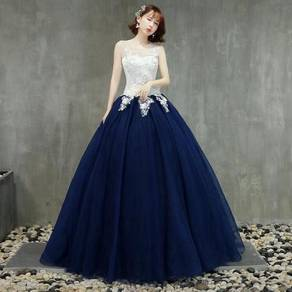 Blue white prom wedding ball dress gown RB0810