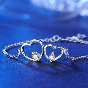 Solid S925 Double Heart Bracelet