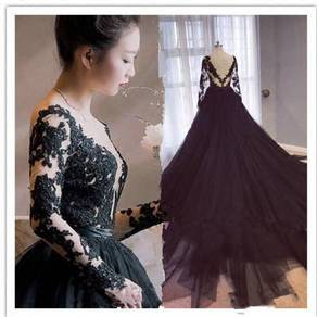 Black long sleeve prom wedding bridal dress RB0406