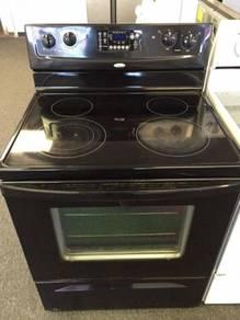 Whirpool black stainless steel glass top burner