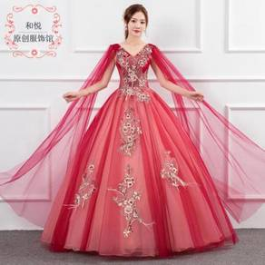 Red cape wedding bridal dress gown RB1268