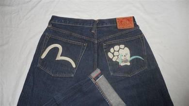 Evisu W32 L32.5 Gull putih sulam tengkorak jeans