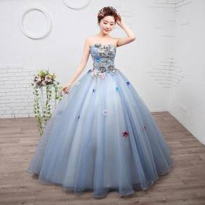 Blue prom wedding bridal ball dress gown RB0814