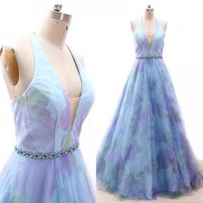 Flower blue wedding bridal evening gown RB1860