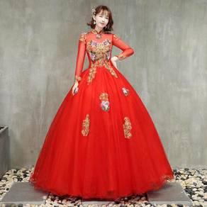 Red cheongsam long sleeve prom wedding dress