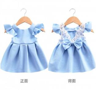 Blue Flying Sleeve Lace Bow Halter Princess Dress
