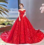 Red wedding bridal dress gown plus size RB1861