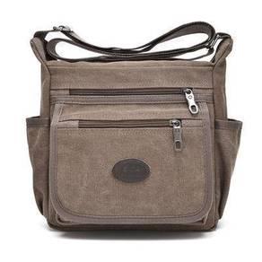 76680 Classic Multi-Pocket Coffee Canvas Sling Bag