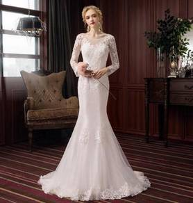 White long sleeve wedding dress gown RB1859