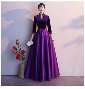 Purple red long sleeve evening dress gown RBP1363