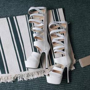 Black/ White high gladiator heels