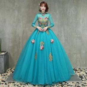 Blue cheongsam long sleeve prom wedding dress