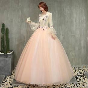 Peach long sleeve prom wedding dress RBMWD0206