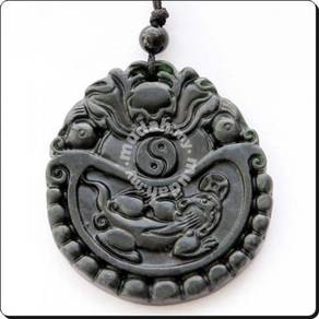ABPJ-D041 Dark Jade Carved Dragon and Son Necklace