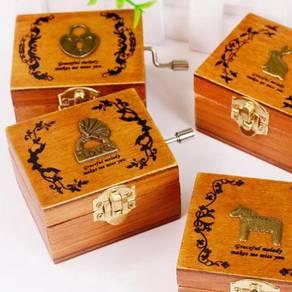Wood music box hand winding kotak muzik kayu