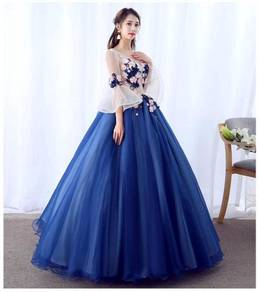 Blue long sleeve prom wedding dress RBMWD0204