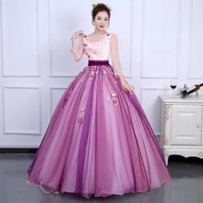 Pink purple long sleeve prom wedding bridal dress