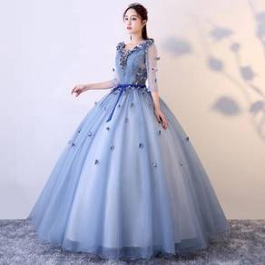 Blue pink long sleeve prom wedding dress RBMWD0202