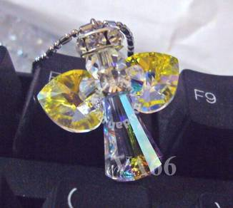 Crystal Angel Pendant Necklace Color choices
